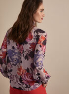 Floral Print Balloon Sleeve Blouse, Purple