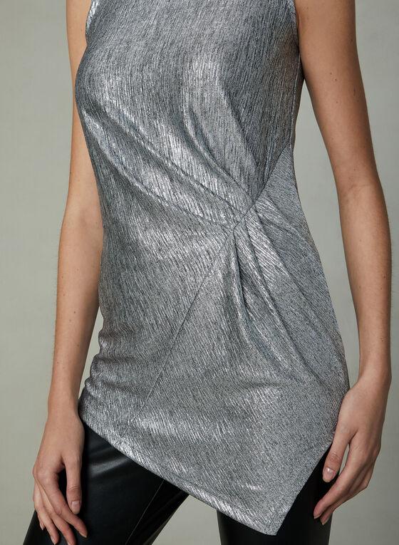 Metallic Sleeveless Top, Silver, hi-res