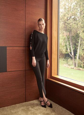 Lace Trim Slim Leg Pants, Black,  fall winter 2020, pants, slim leg, lace detail, lace trim, pleated, pleats, bottom slits, comfort, stretch, high waist, bottoms