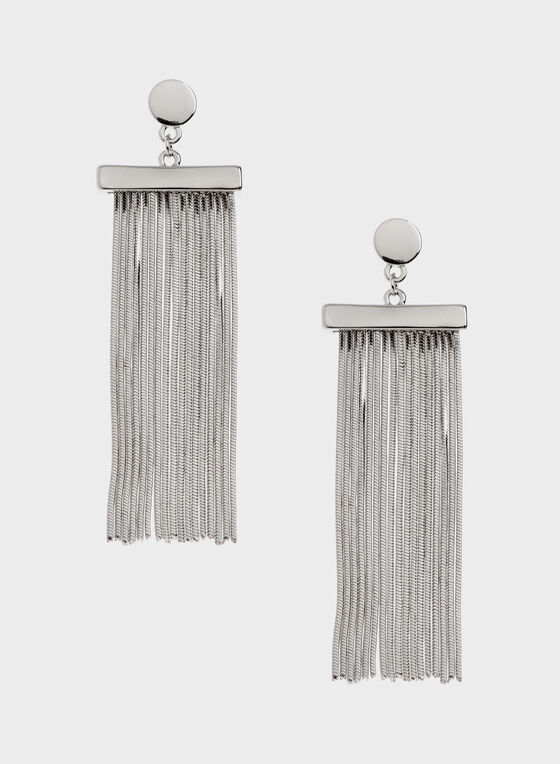 Waterfall Pendant Drop Earrings, Silver, hi-res