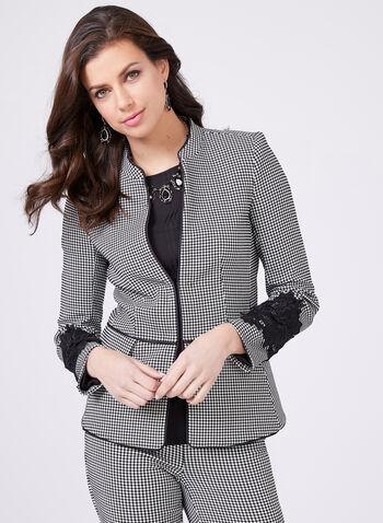 Lace Detail Gingham Jacket, Black, hi-res