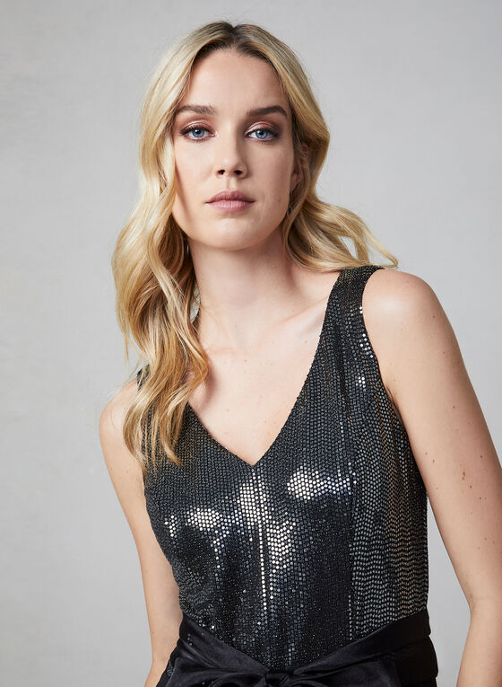 Sequin Jumpsuit With Bow, Black, hi-res