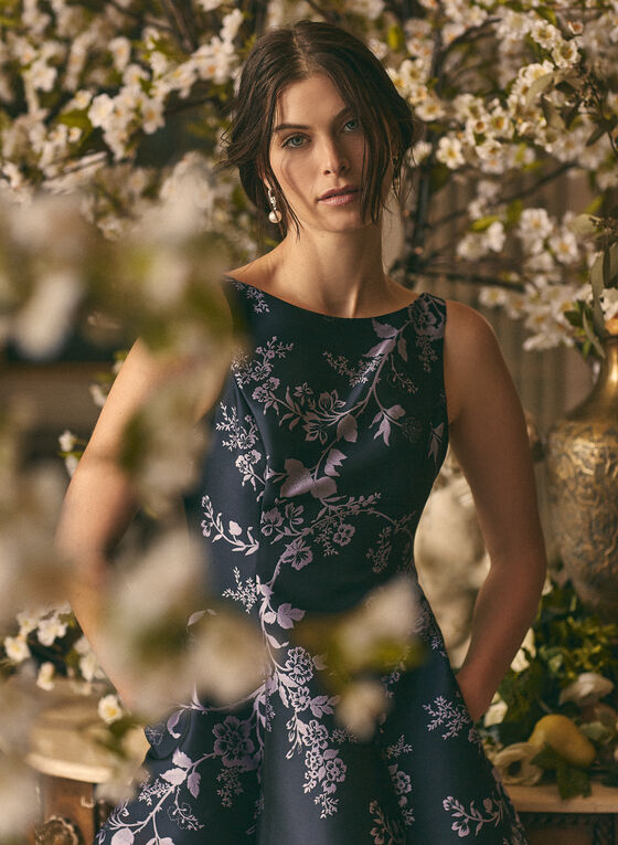 Adriana Papell - Robe midi à motif floral , Bleu