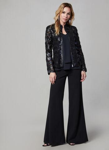 Joseph Ribkoff - Leaf Mesh Jacket, Black,  jacket, mesh, leaf, zip front, josepgh ribkoff, fall 2019