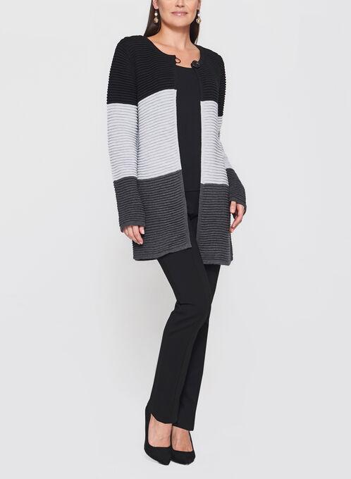 Cardigan en tricot côtelé à blocs de couleurs, Gris, hi-res