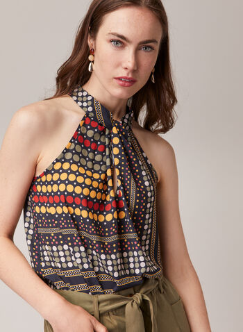 Geometric Print Sleeveless Blouse, Blue,  blouse, sleeveless, geometric print, high neck, twist, crepe, asymmetric, spring summer 2020