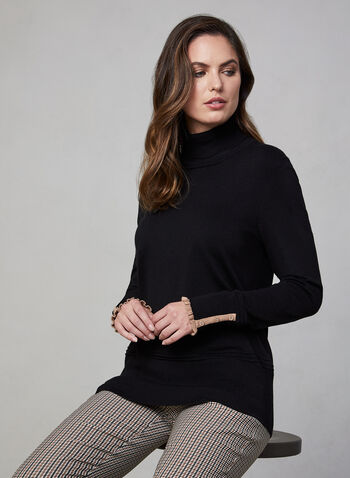 Ruffle Trim Turtleneck Sweater, Black,  knit, long sleeves, stretchy, fall 2019, winter 2019