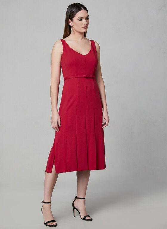 Julia Jordan - Belted A-Line Dress, Red, hi-res