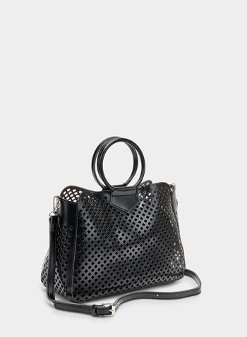Ring Handle Handbag, Black,  handbag, ring handle, perforated, spring 2019, summer 2019