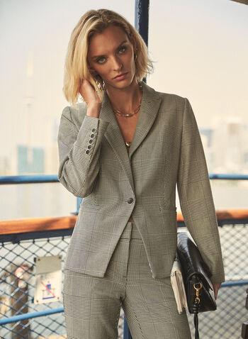 Veste tailleur à carreaux, Noir,  veste, tailleur, col cranté, boutons, carreaux, prince de galles, automne hiver 2020