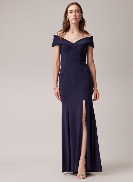 BA Nites - Robe sirène à épaules dénudées, Bleu