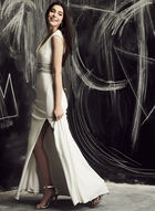 BA Nites - Plunge Neck Beaded Gown, Off White, hi-res