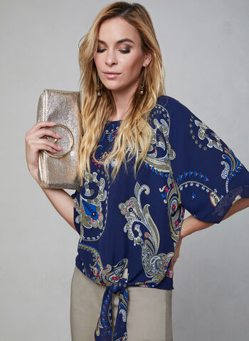 Blouse motif cachemire à manches kimono, Bleu, hi-res,  blouse, col bateau, motif cachemire, manches kimono, mousseline, lien, automne hiver 2019