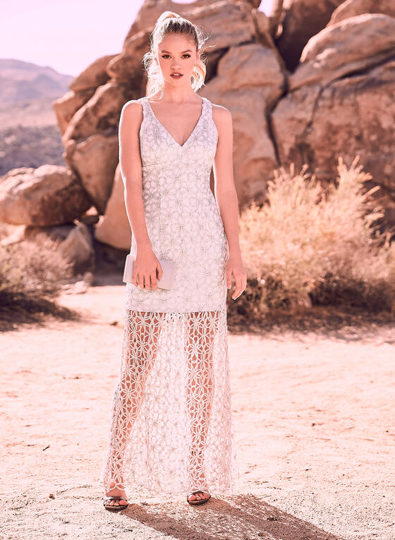 Alex & Eve - Embroidered Illusion Dress, Silver, hi-res