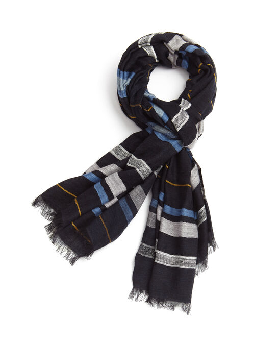 Stripe Cotton Scarf , Blue, hi-res