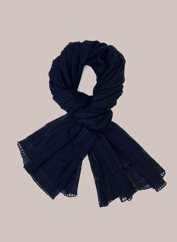 Pleated Lightweight Scarf, Blue,  scarf, pleated, lightweight, spring summer 2020
