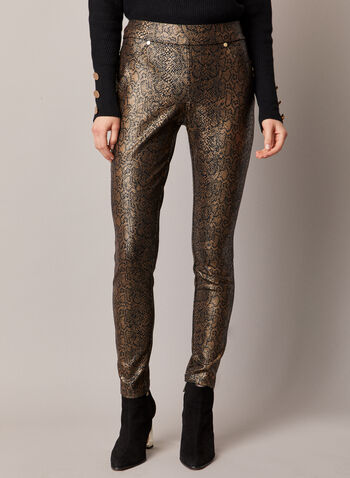 Snake Print Slim Leg Pants, Brown,  pants, slim leg, snake print, pull-on, ponte di roma, fall winter 2020