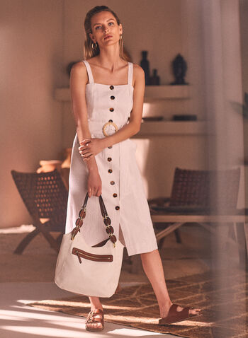 Sleeveless Button Front Dress, Off White,  spring summer 2021, midi dress, linen-like, button-front, cold shoulder, no sleeves, square neck, cinch
