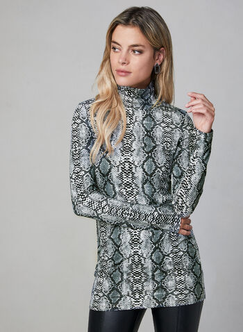 Alison Sheri - Snakeskin Print Turtleneck, Grey, hi-res,  Alison Sheri, top, turtleneck, snakeskin print, long sleeves, fall 2019, winter 2019