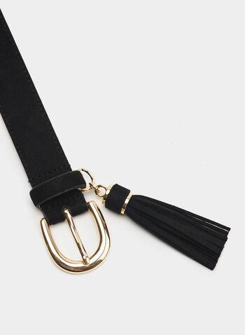 Suede Tassel Belt, Black, hi-res