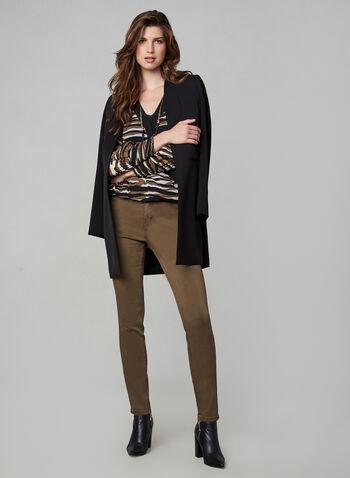 Stripe Print V-Neck Blouse , Brown, hi-res,  top, stripe, chiffon, long sleeves, fall 2019, winter 2019