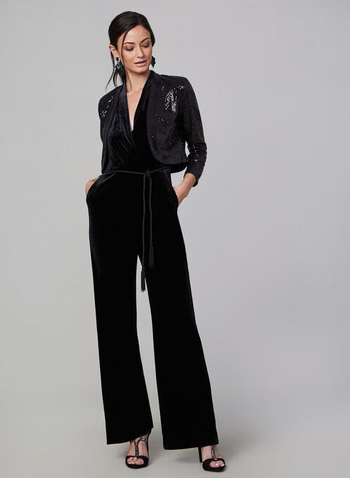 Eliza J - Open Front Sequin Bolero , Black