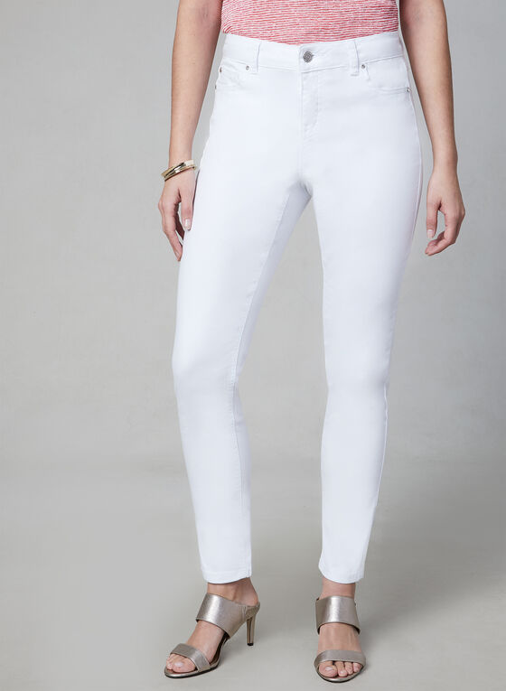 Slim Leg Jeans, White, hi-res