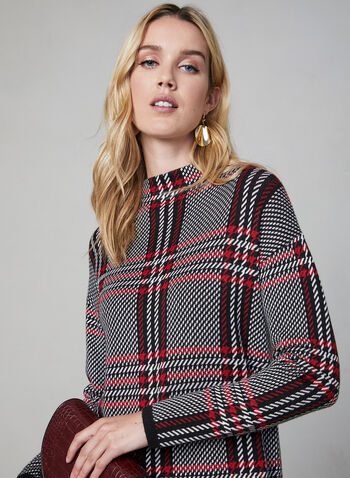 Plaid Print Mock Neck Sweater, Black, hi-res,  mock neck, knit, long sleeves, tartan, fall 2019, winter 2019