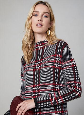 Pull à col cheminée, Noir, hi-res,  motif, motifs, imprimé, tartan, manches longues, automne hiver 2019