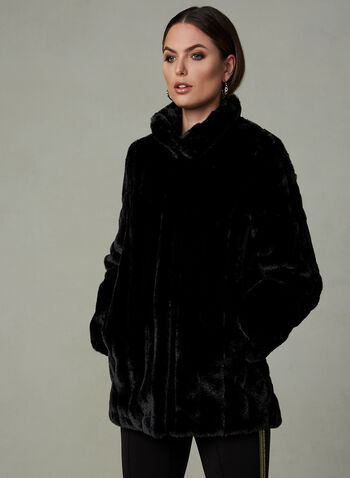 Novelti - Faux Fur Coat, Black, hi-res