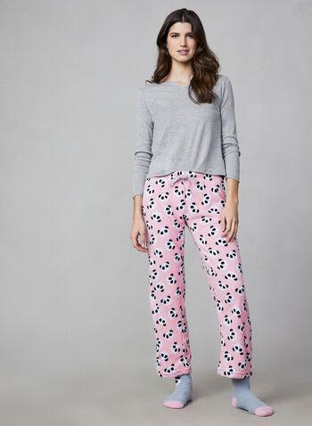 Pillow Talk - Pyjama 2 pièces avec chaussettes, Rose,  pyjama, haut, pantalon, panda, peluche, chaussette, manches 3/4, automne hiver 2019