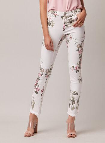 Jeans fleuri à jambe étroite, Blanc,  jeans, étroit, fleur, effiloché, poches, printemps été 2020