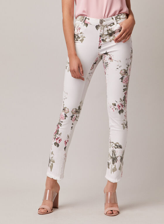 Floral Print Slim Leg Jeans, White