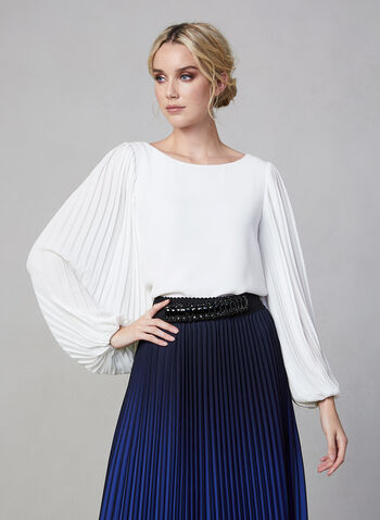 Pleated Long Sleeve Blouse, Off White, hi-res,  blouse, long sleeves, pleats, fall 2019, winter 2019