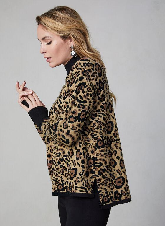 Leopard Print Sweater, Black, hi-res
