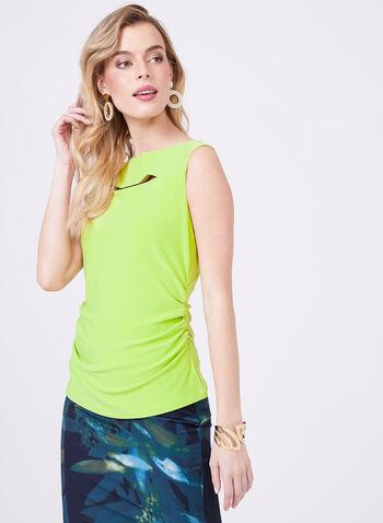 Haut sans manches avec ajour et effet plissé, Vert, hi-res