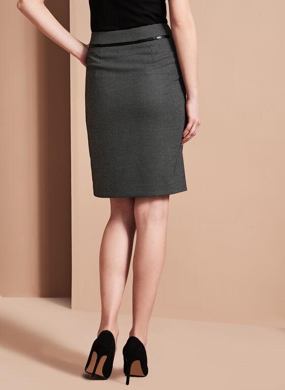 Zipper Front Dot Print Pencil Skirt, Black, hi-res