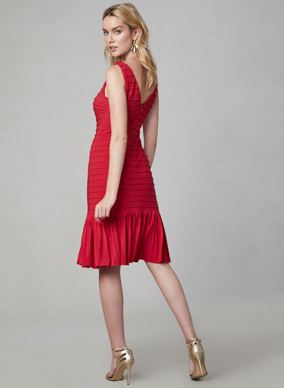 Adrianna Papell - Sleeveless Flounce Hem Dress, Red, hi-res