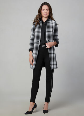 Plaid Print Redingote Jacket, Black, hi-res,  long sleeves, notch collar, fall 2019, winter 2019