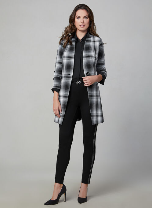 Plaid Print Redingote Jacket, Black, hi-res