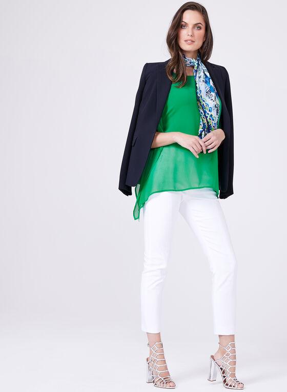 Camisole Cold Shoulder Poncho Set, Green, hi-res