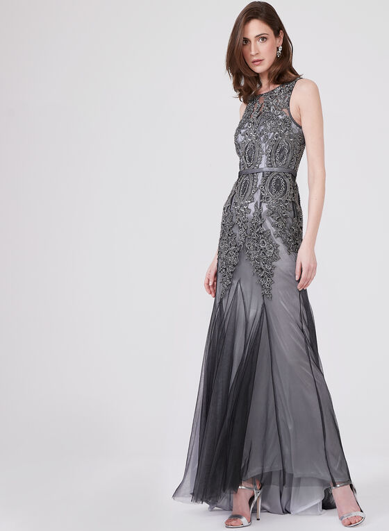 DeCode 1.8 – Sleeveless Soutache Lace Godet Gown, Grey, hi-res