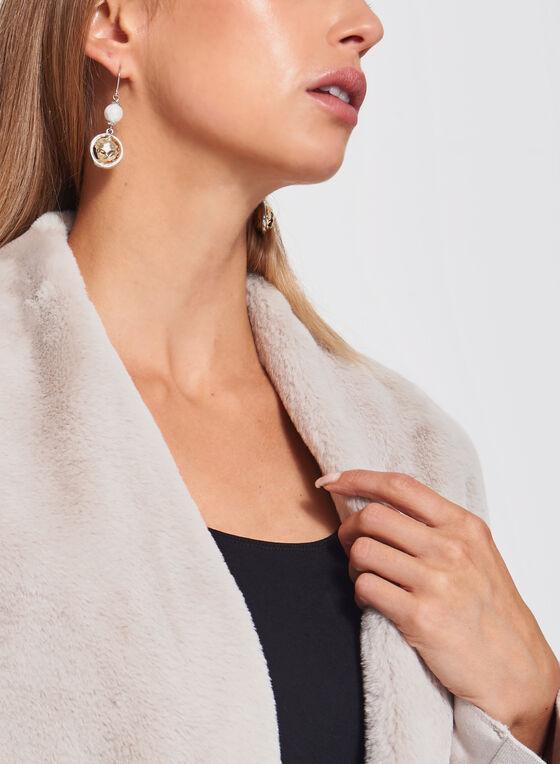 Manteau ouvert drapé suédine et simili fourrure, Blanc cassé, hi-res