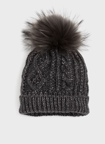 Cable Knit Pom-Pom Hat, Grey, hi-res