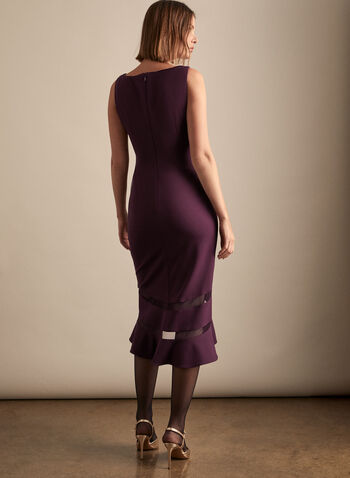 Adrianna Papell - V-Neck Flared Hemline Dress, Purple,  dress, cocktail, flared, mesh, crepe, pleated, wrap, v-neck, sleeveless, spring summer 2020