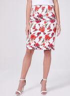 Floral Print Sateen Skirt, White, hi-res