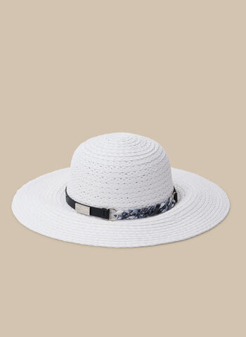 Capeline en paille tressée et détail chaîne, Blanc,  chapeau, capeline, chaîne, écaille de tortue, printemps été 2020