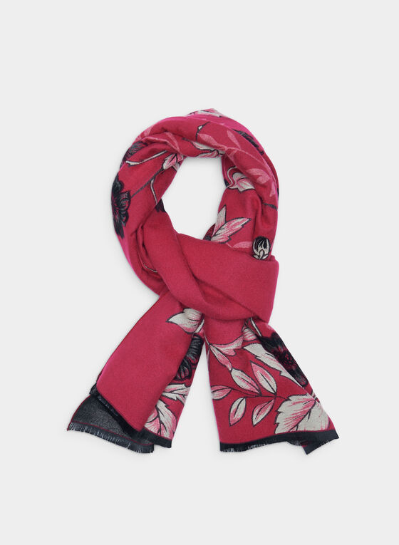 Reversible Floral Print Scarf, Pink, hi-res