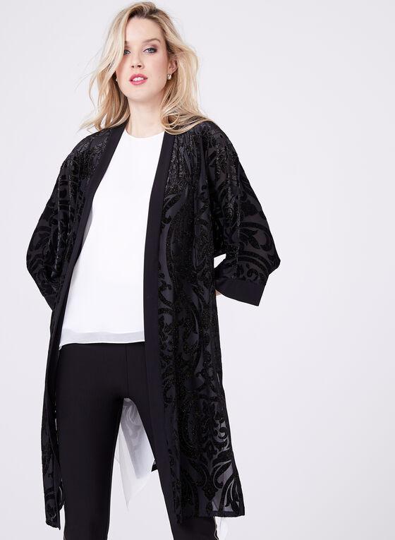 Cardigan kimono à velours et paillettes, Noir, hi-res