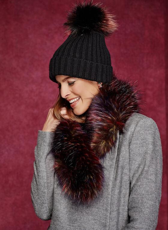 Tuque tricot avec pompon en simili fourrure amovible, Noir, hi-res